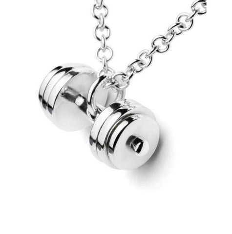 Sterling Silver Gold DUMBBELL Necklace Fitness Jewelry Charm Pendant Gym Fitness Accessory Crossfit Barbell Workout Jewelry - MAXMARTZ