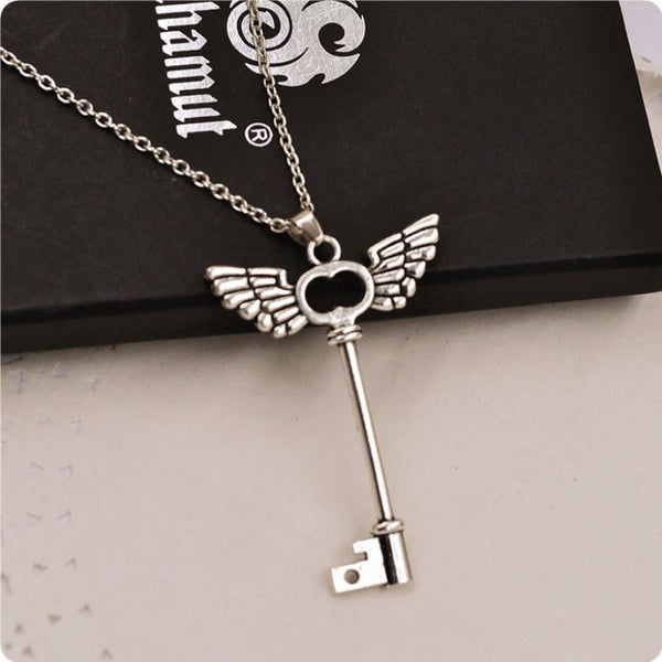 Angel Wings Silver Key Friendship Pendant with Long Chain