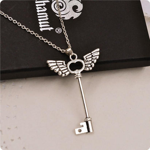 Angel Wings Silver Key Friendship Pendant with Long Chain - MAXMARTZ