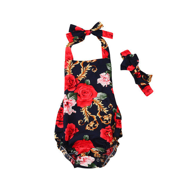 Baby Girl Rompers Cotton Blend, Black, Red and White Floral Design + Headscarf Newborn & Toddlers - MAXMARTZ