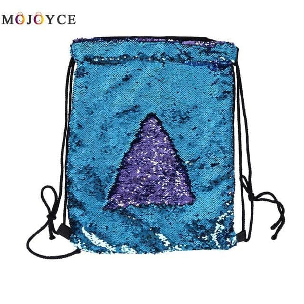 Mermaid Sequin Drawstring Backpacks Glittering Shoulder Bling Bags Reversible Glitter Drawstring Backpacks Women Beach Bags - MAXMARTZ