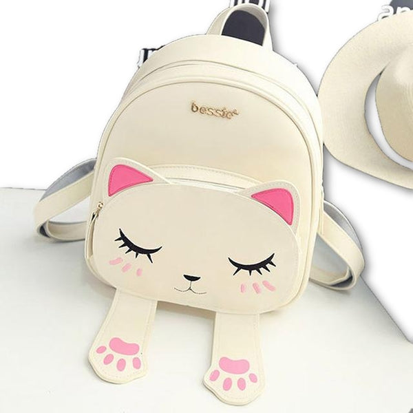Cute Cat Backpack School Women Pu Leather Backpacks for Teenage Girls - MAXMARTZ