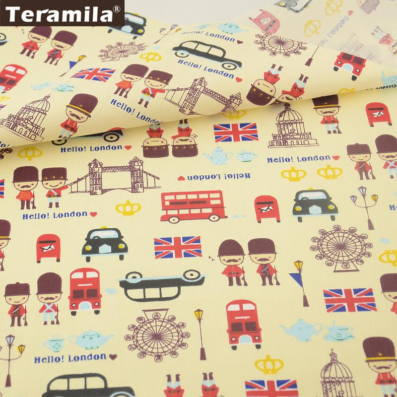 Light Yellow Cotton Fabric London Traffic Pattern Twill Fat Quarter Home Textile Material Bed Sheet Tissue Decoration - MAXMARTZ