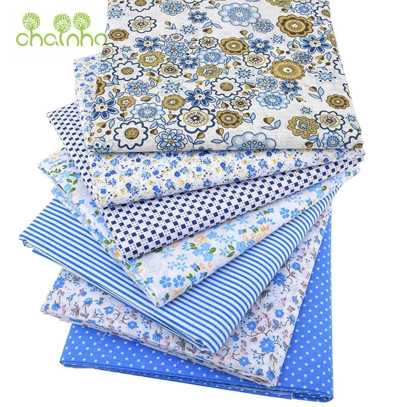 Chainho 7pcs/lot,Cotton Fabric(Low Density&Thin)Patchwork Bundle,Quilting&Sewing Cloth/Fat Quarters Tissue/50*50cm Blue Series - MAXMARTZ