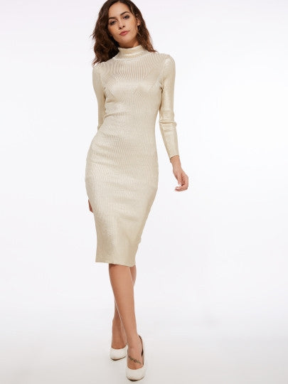 Turtle Neck Sequins Women's Sheath Dress - MAXMARTZ