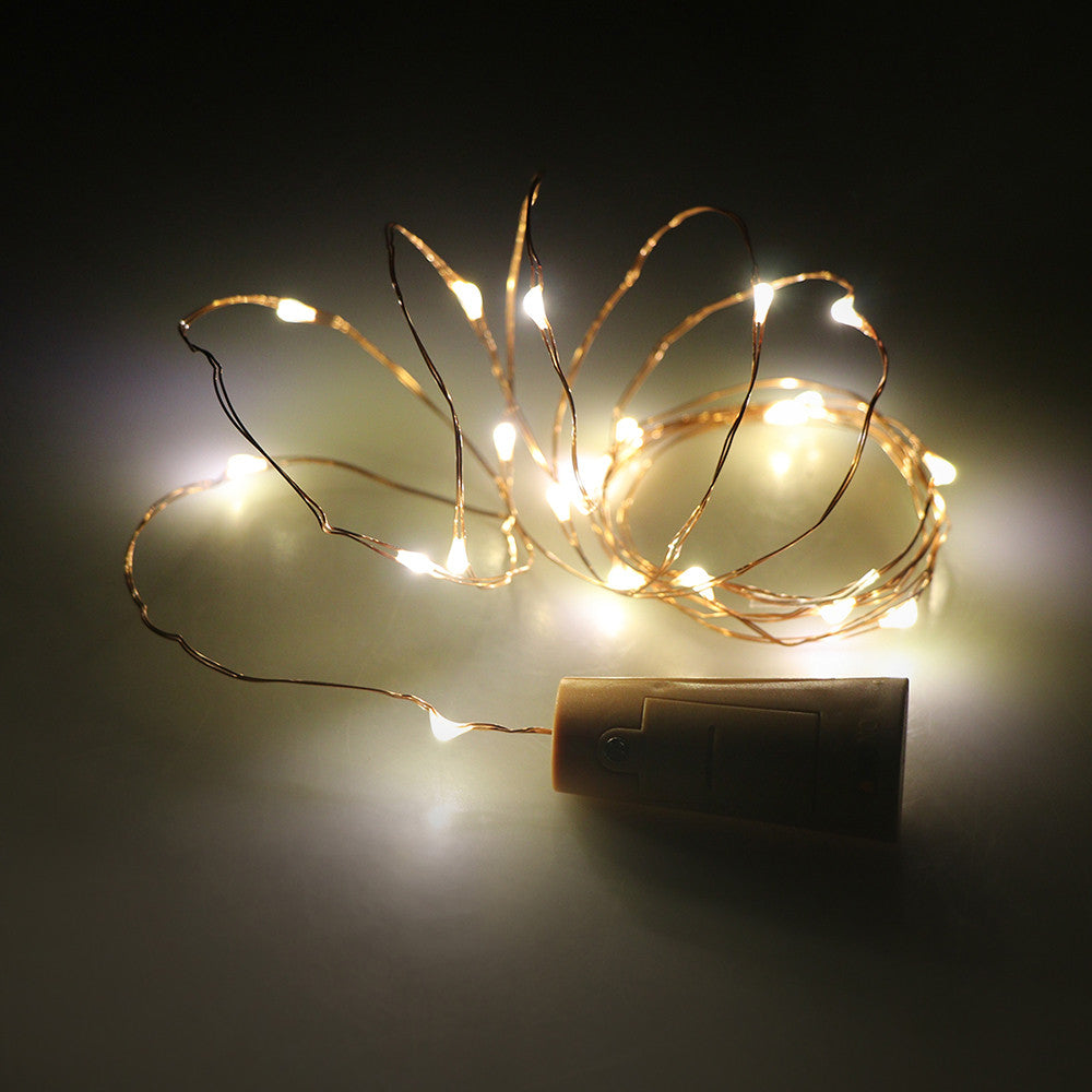 2m 20-LED Copper Wire String Light with Bottle Stopper for Glass Craft Bottle Fairy Valentines Wedding Decoration Lamp Party - MAXMARTZ