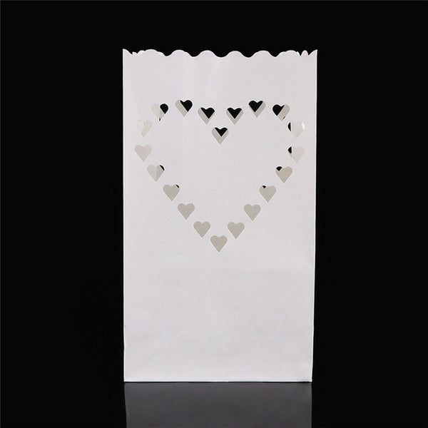 ABEDOE 5PCS Wedding Heart Tea Light Holder Luminaria Paper Lantern Candle Bag Home Valentines Day Gifts Party Decoration