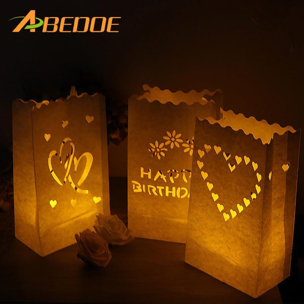 ABEDOE 5PCS Wedding Heart Tea Light Holder Luminaria Paper Lantern Candle Bag Home Valentines Day Gifts Party Decoration - MAXMARTZ