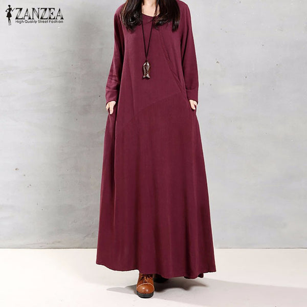 ZANZEA Women Dress Autumn Ladies O Neck Long Sleeve Pockets Casual Solid Cotton Long Maxi Party Dresses Vintage Vestidos - MAXMARTZ