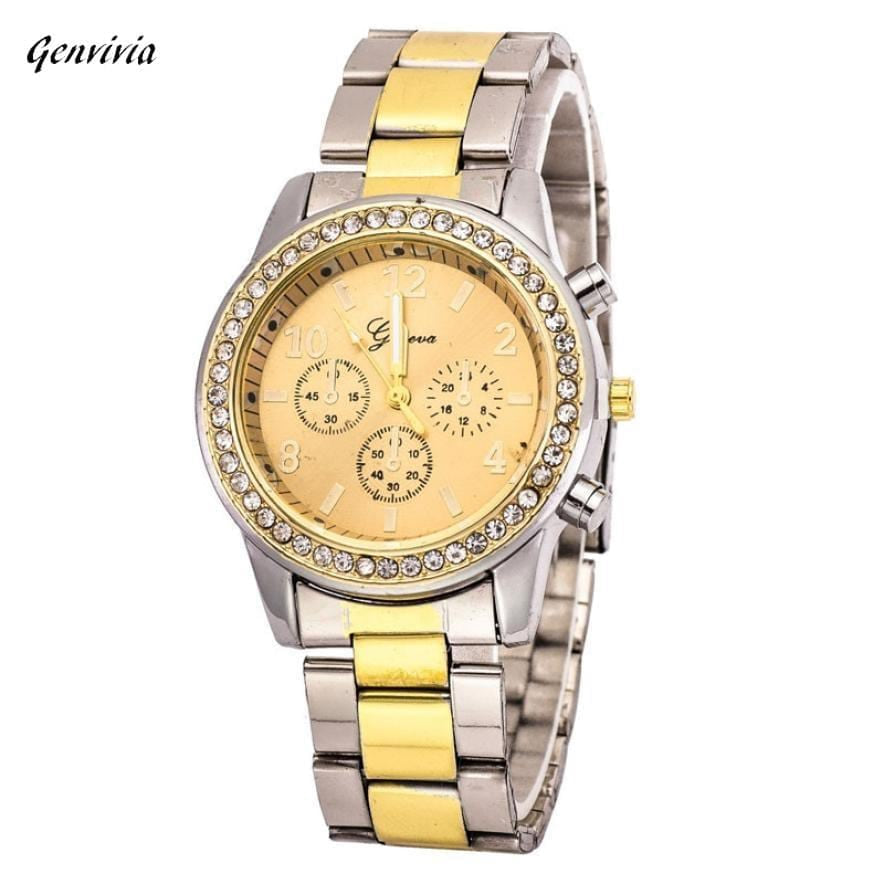 GENVIVIA faux chronograph men watches strap gold and silver round dial diamond watch for men ladies elegant watches gold horloge