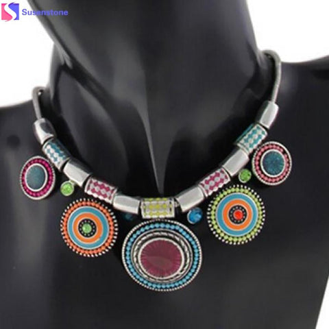 Fashion Choker Necklace 2016 New Ethnic Vintage Silver Plated Colorful Bead Pendant Stat necklace - MAXMARTZ