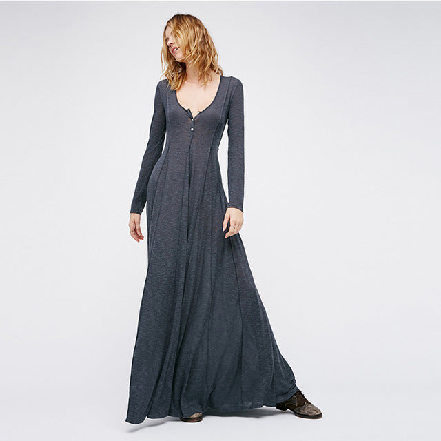HDY Haoduoyi Plunge V Neck Long Sleeve Women Dress Long Evening Party Maxi Dress Ball Gown Vestidos Gray Female Dresses - MAXMARTZ