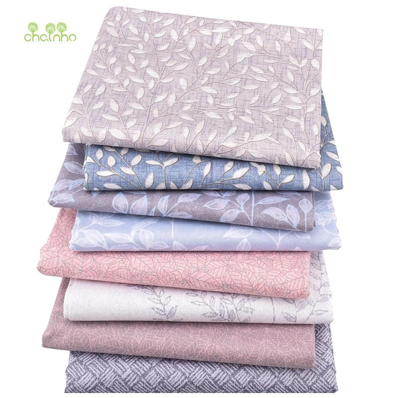 Chainho,8pcs/lot,Leaves Printed Twill Cotton Fabric,Patchwork Cloth,DIY Sewing Quilting Fat Quarters Material For Baby&Children - MAXMARTZ