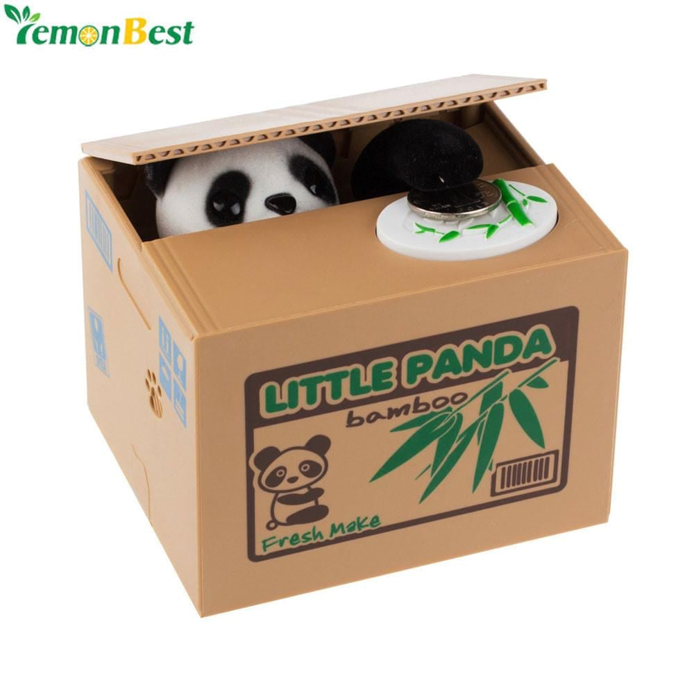 Cute Automatic Stole Coin Piggy Bank Panda Yellow / White Cat Money Box 11.5x9.5x9cm Money Saving Box Moneybox Gifts For Kids