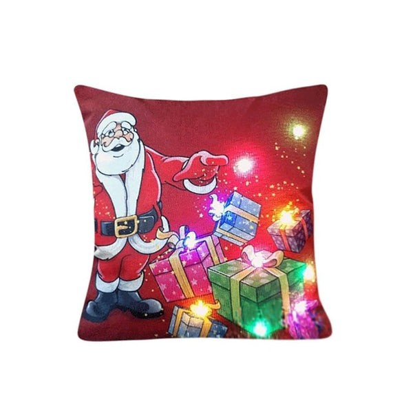 The New Color Lights Christmas Pillow LED Lights Pillow Creative Printing Linen