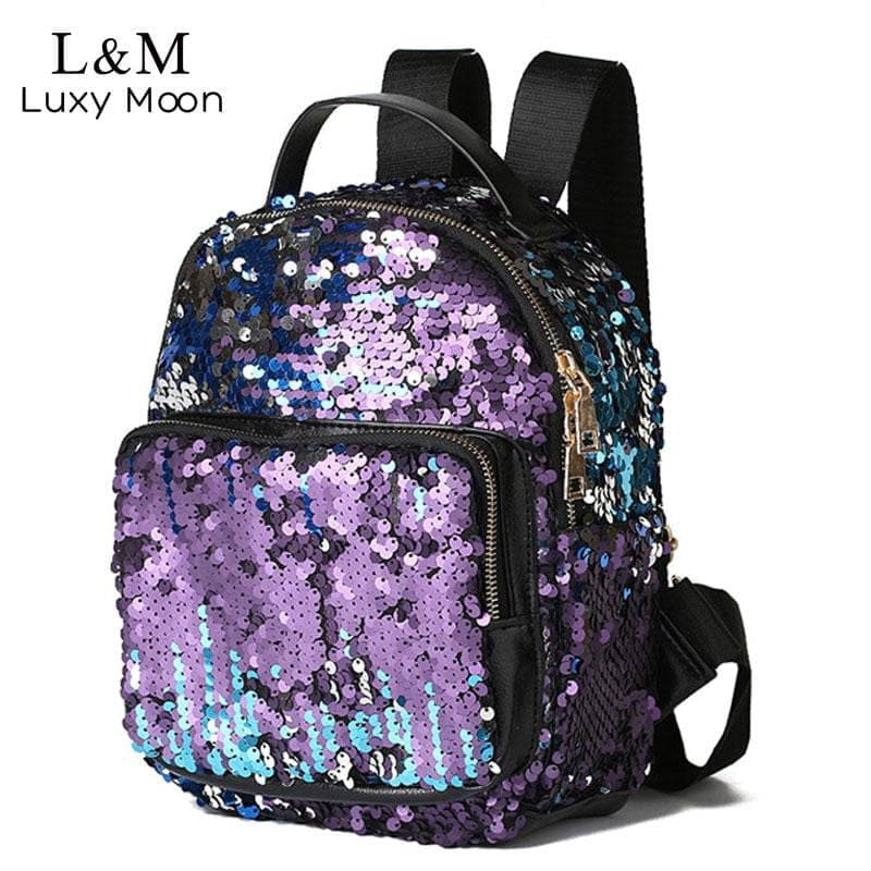 Fashion Small Glitter Backpack Women Silver Sequin Daypack Mini Teenage Girls Black Leather Backpacks mochila mujer XA129H - MAXMARTZ