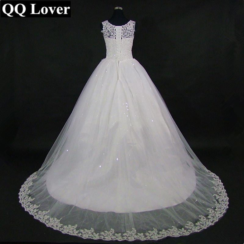 QQ Lover 2018 New Lace Wedding Dress Custom Made Plus Size Ball Gown Appliques Train Vestido de Noiva - MAXMARTZ