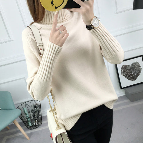 Turtleneck Long-Sleeved Sweaters And Pullovers - MAXMARTZ
