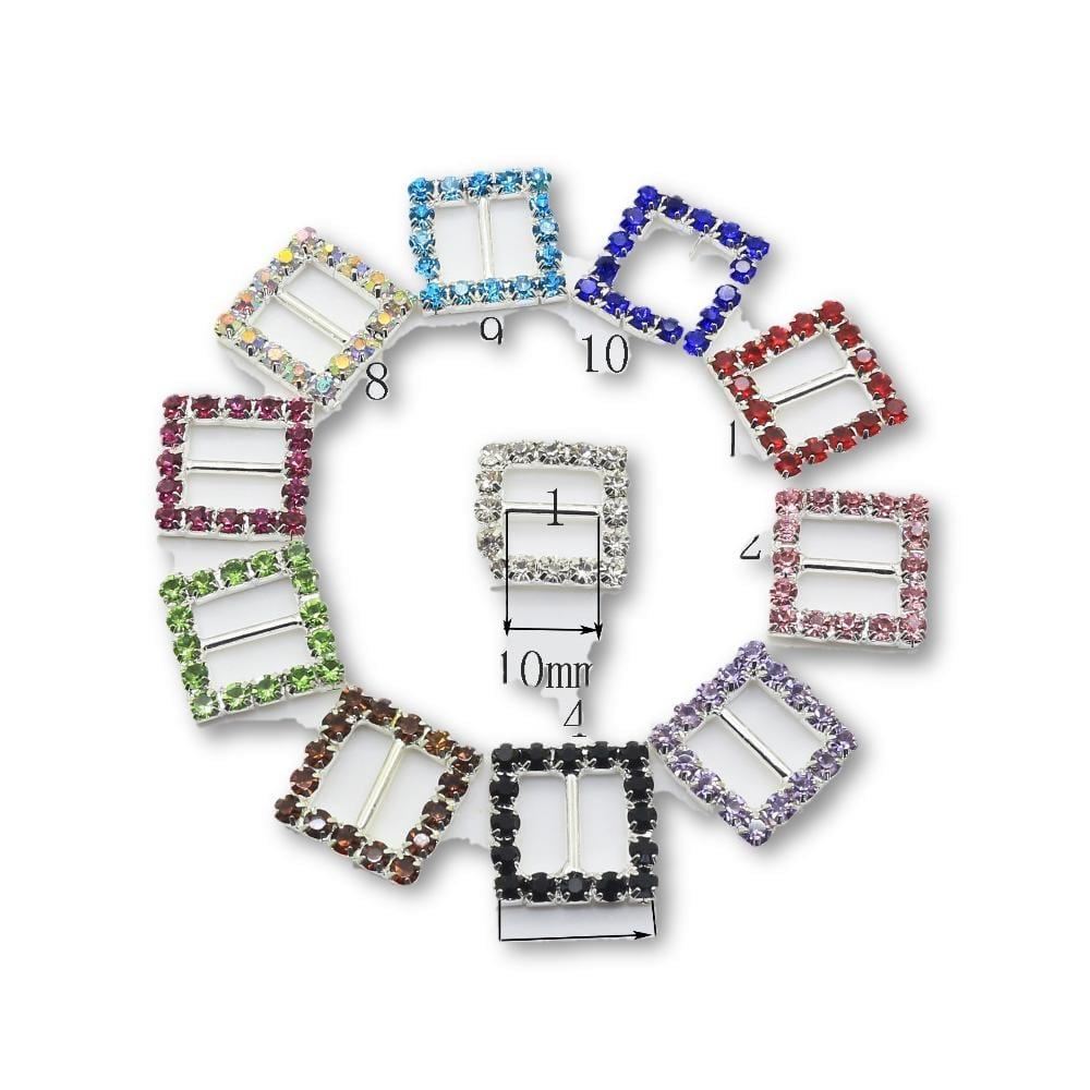 10pcs 15mm Square Rhinestone Buckles - MAXMARTZ