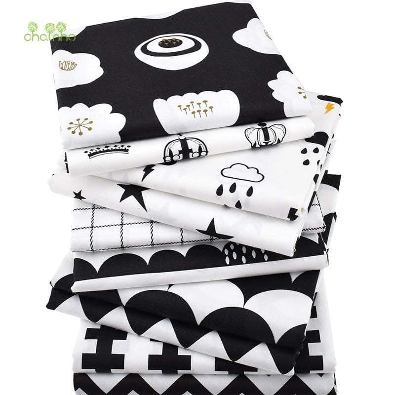 Chainho Twill Cotton Fabric,Patchwork Black Tissue Cloth,DIY Sewing Quilting Fat Quarters Material For Baby&Children,10pcs/lot, - MAXMARTZ
