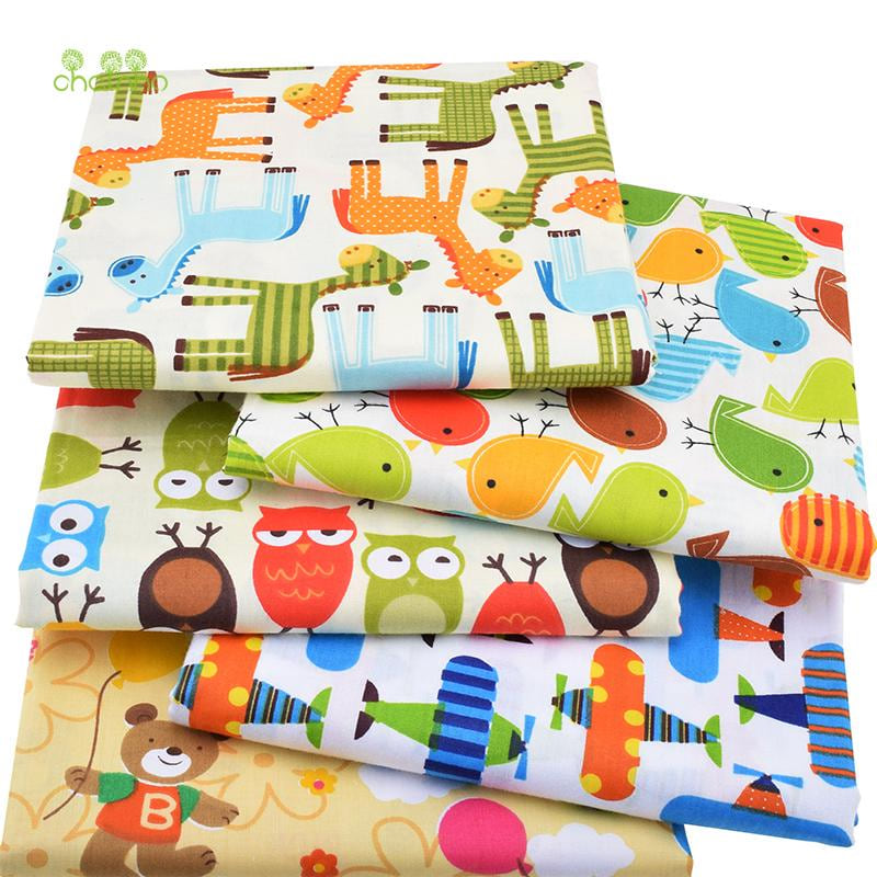 Chainho,5pcs/lot,Cartoon Series,Twill Cotton Fabric,Patchwork Cloth,DIY Sewing Quilting Fat Quarters Material For Baby&Children - MAXMARTZ