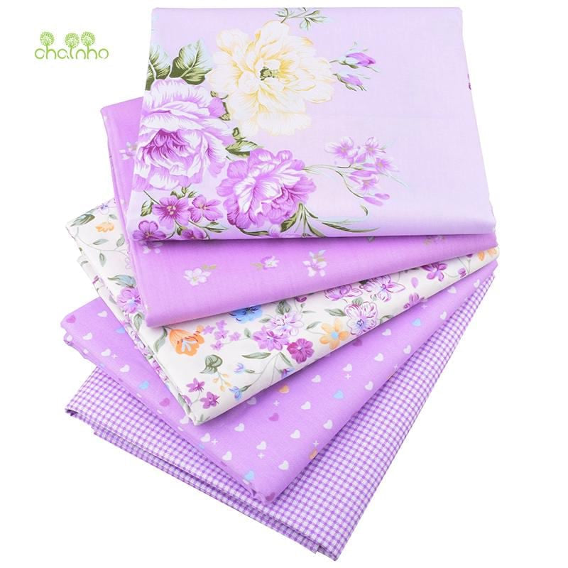 Chainho Twill Cotton Fabric,Patchwork Floral Tissue Cloth,DIY Sewing Quilting Fat Quarters Material For Baby&Children,5pcs/lot - MAXMARTZ