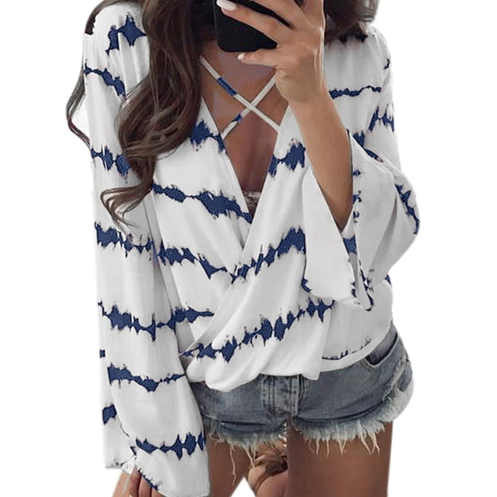 Women Loose Long Sleeve Shirt Stripe Tops Overlapping Chiffon Casual Blouse - MAXMARTZ