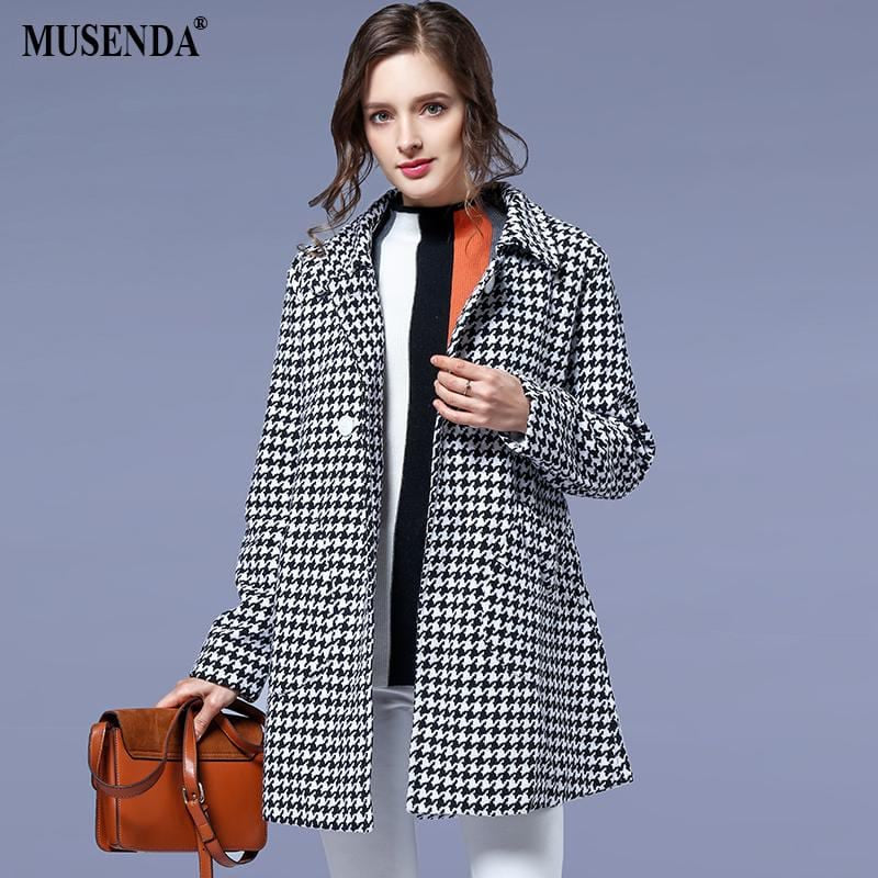 MUSENDA Plus Size Women Houndstooth Button Pockets Trench Coat 2018 Spring Winter Female Office Lady Long Outerwear Clothing