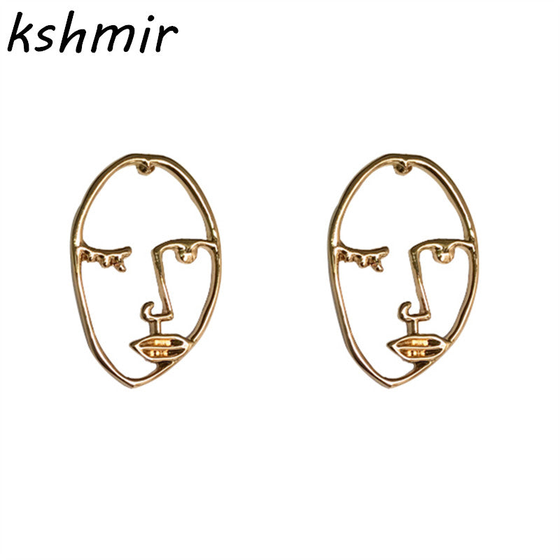 Unique personality exaggerated metal hollow out in the face of the human body stud earrings earrings profile women abstract - MAXMARTZ