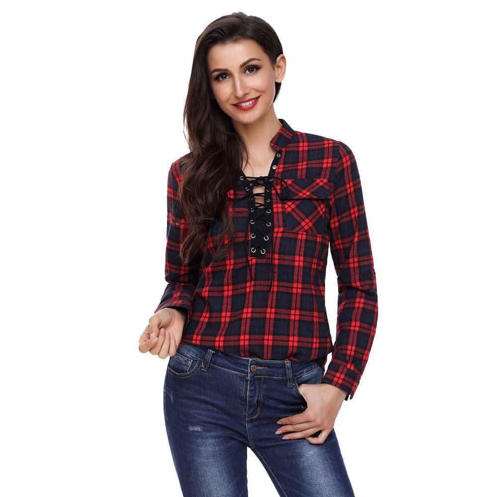 Women's V Neck Lace Up Tops Check Plaid Loose Long Sleeve T Shirt Tee Blouse - MAXMARTZ