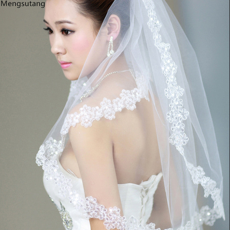 Wedding veil solid color bride wedding dress soft yarn 3 meters long trailing wedding accessories short bridal veil 6048 | MAXMARTZ