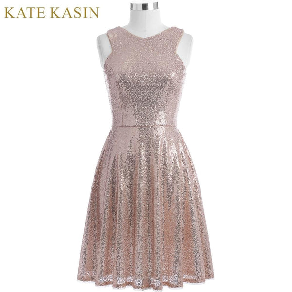 Kate Kasin Rose Gold Sequins Cocktail Dresses 2018 Knee Length Women Casual Party Short Dresses Robe de Cocktail Prom Gowns 1065 - MAXMARTZ