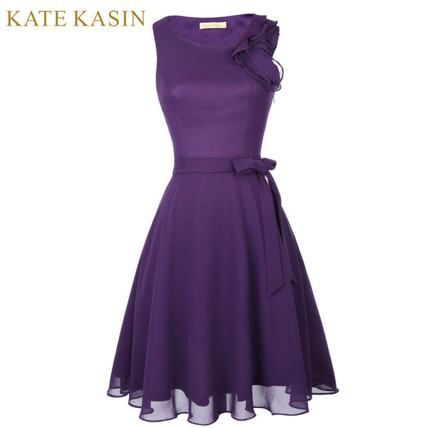 Kate Kasin Ruffle Short Design Purple Prom Dresses 2018 Party Knee Length Vestido de Festa Formal Occasion Cocktail Prom Dresses - MAXMARTZ