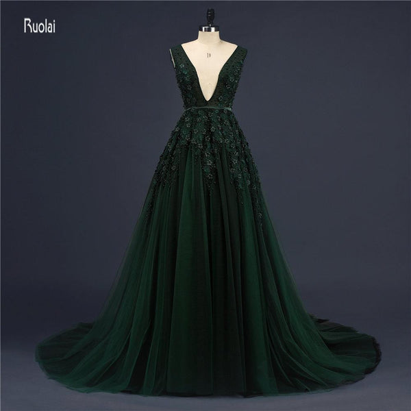 vestido de noiva Emerald Green Evening Dresses Long Tulle Sexy Wedding Party Dress Open Back Prom Dresses vestido de festa - MAXMARTZ