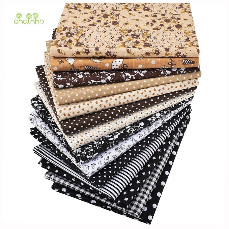 Chainho,14pcs/lot,Plain Thin Cotton Fabric,Coffee&Black Patchwork Clothes For DIY Quilting&Sewing Fat Quarters Material,50x50cm