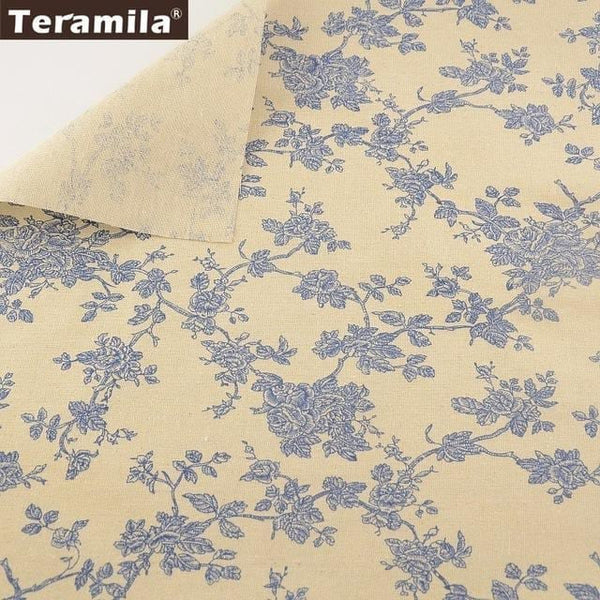 Teramila Cotton Linen Fabric 4 Muti-color Printed Floral and Tree Style Fat Quarter Bundle Meter Tablecloth Pillow Decoration