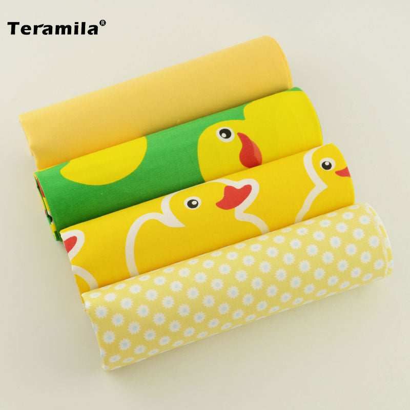 100% Cotton Meter Fabric 4PCS/lot Lovely Yellow Color Fat Quarter Patchwork Cloth Teramila Sewing Different Sizes Scrapbooking