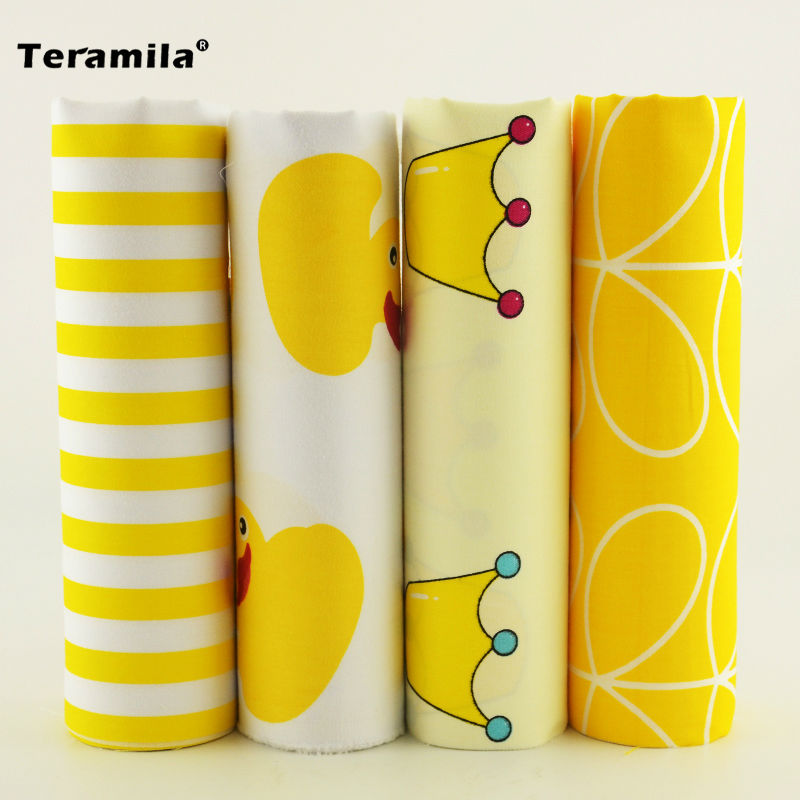 4 Designs twill Cotton Fabric yellow and white color Fat Quarter Bundle Tilda Quilting scrapbooking Patchwork Cloth 40CMx50CM - MAXMARTZ