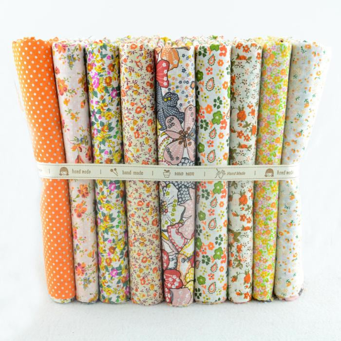 "Booksew Cotton Fabric 50cmx50cm 9 pieces""Floral Yellow"" Fat Quarters Patchwork Fabric Scrapbooking Sewing Cloth W3B5-3"