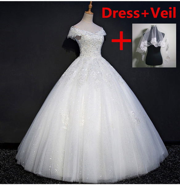 QQ Lover 2018 New Lace Boat Neck Ball Gown Wedding Dress Custom-made Bridal Gown Vestido De Noiva - MAXMARTZ