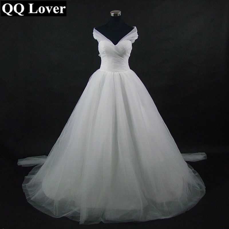 QQ Lover 2018 New Elegant Flowing Wedding Dress Custom-made Vestido De Noiva Bridal Wedding Gown - MAXMARTZ