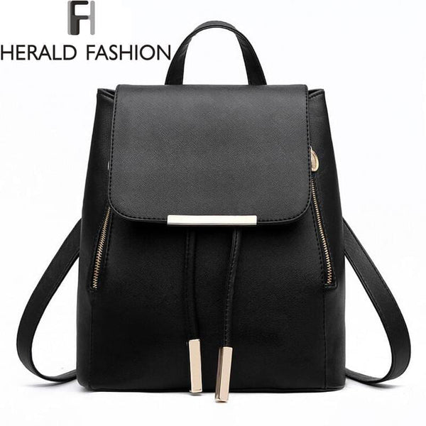 Women Backpack High Quality PU Leather School Bags For Teenagers Girls Top-handle included - MAXMARTZ