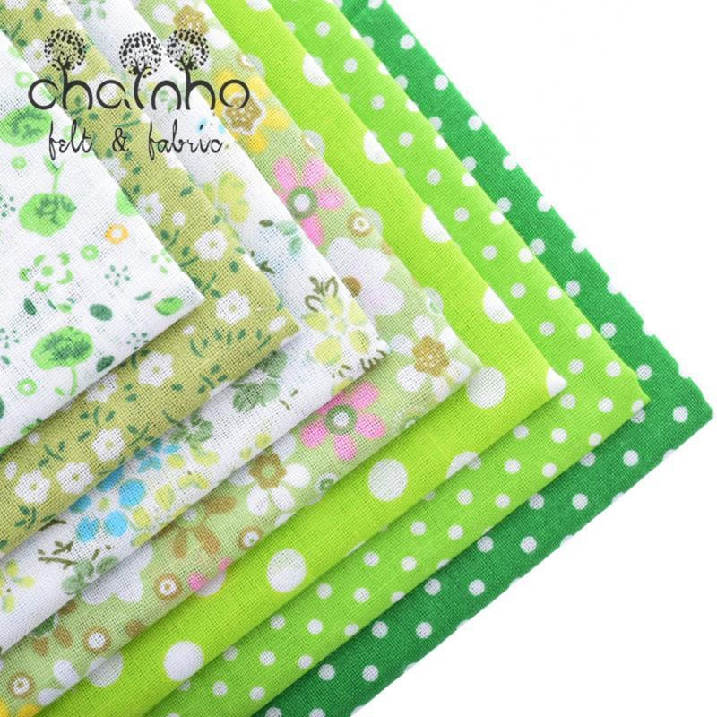 Thin Cotton Fabric Patchwork For Sewing Scrapbook Cloth Fat Quarters Tissue For Quilt Needlework Pattern 50*50cm Green 7pcs - MAXMARTZ
