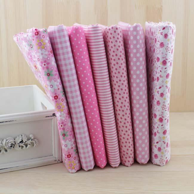7 pcs/lot 50cmx50cm Pink 100% Cotton Fabric fat quarters for Sewing Tilda Doll Cloth DIY Quilting Patchwork Tissue Textile - MAXMARTZ