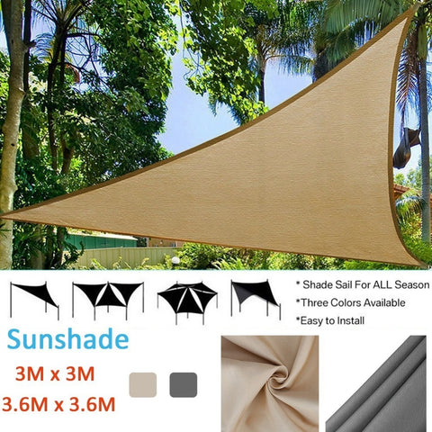 Triangle Sun Shade Sail Protection Outdoor  Canopy Garden Patio Pool Shade Sail Camping Picnic Tent Awning W/1800D Wind Rope - MAXMARTZ