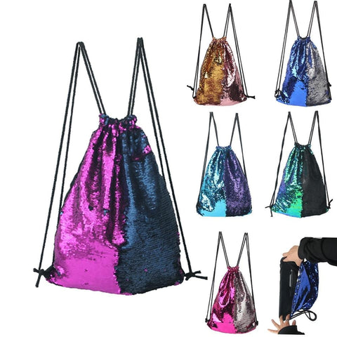 Fashion drawstring bags women men Roses Sports Casual Double Color shiny Sequins Unisex Chest Bag Backpack Large Drawstring bag - MAXMARTZ