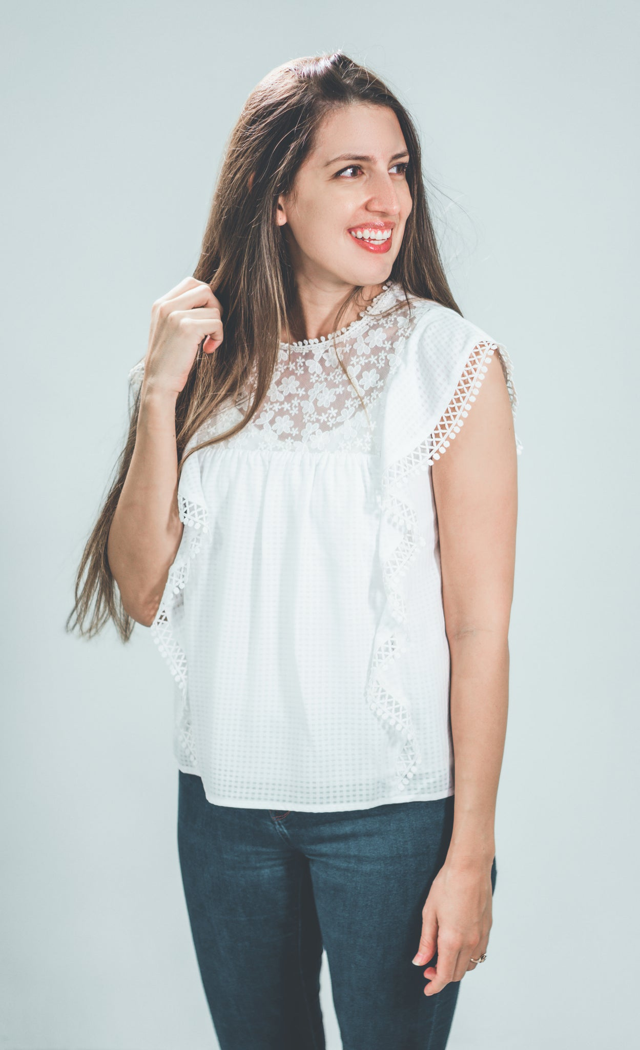 Nursing Floral Lace Blouse