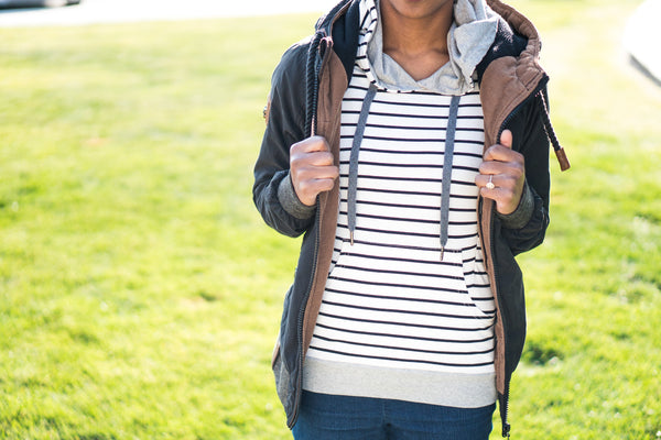 Nursing Striped Hoodie - White With Black Stripes