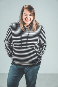 Breastfeeding Striped Hoodie - Black with White Stripes