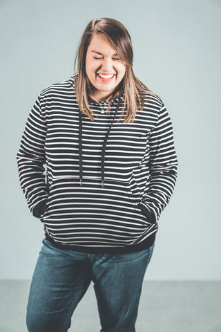Nursing Striped Hoodie - Black with White Stripes